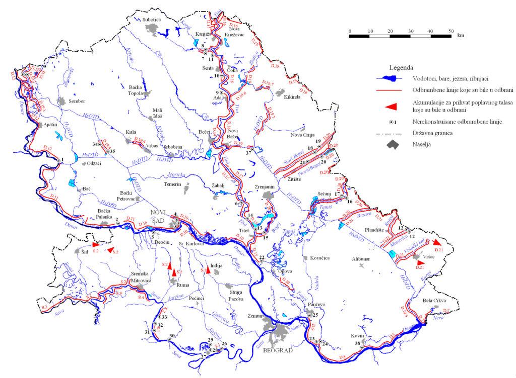 Карта одбрамбених линија у Војводини