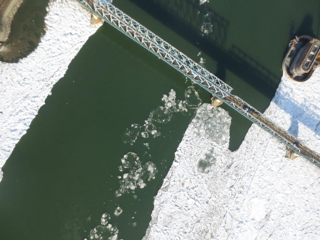 Pogled na Dunav kod Novog Sada iz vazduha, 16. 1. 2017.